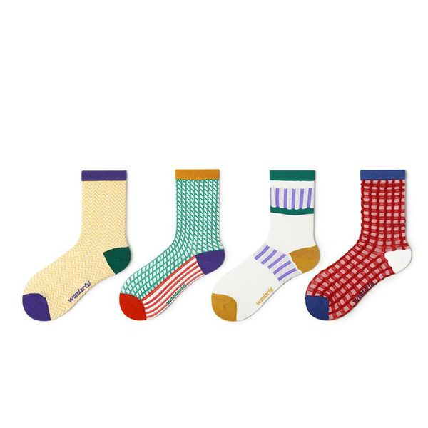 The new color-matching color checked sports cotton socks NHQY197005