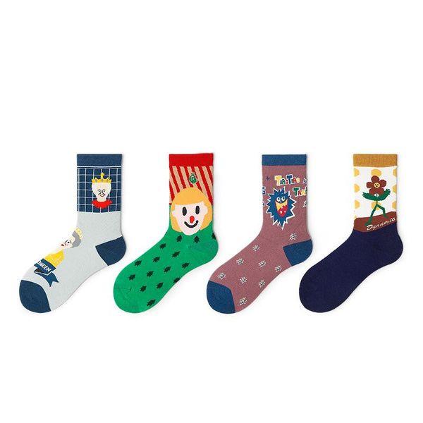 New cartoon men's socks combed cotton socks women's trend fashion tube socks wholesale NHQY197007