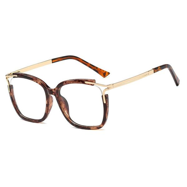 Trendy square frame mirror female big frame metal leg flat mirror myopia glasses men NHFY196661