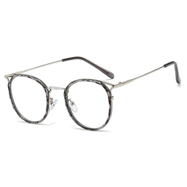 New crystal multi-faceted frame glasses TR90 round frame flat mirror female myopia mirror NHFY196665