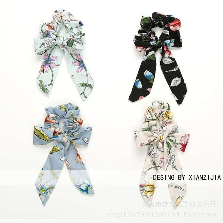 Korean the new floral fabric large intestine without seams and hair loops elastic female jewelry wholesale NHOF197018
