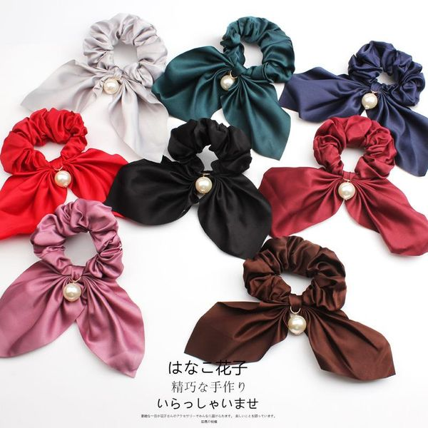 Korean hair tie bud head cloth hair ring black solid color pearl rabbit ear large intestine head flower ponytail hair rope NHOF197020
