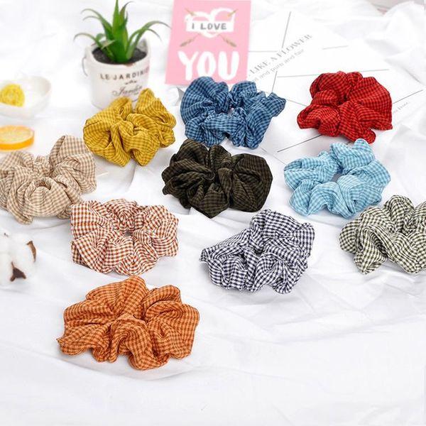 Flower head bowel band Korean black and white plaid hair accessories cotton linen headband NHOF197029