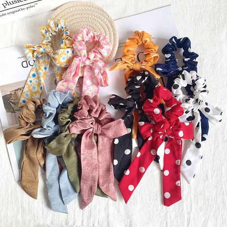 New Fashion Print Bow Ribbon Headband Headdress Horsetail Large Intestine Floral Hair Rope Hair Accessories NHOF197032's discount tags