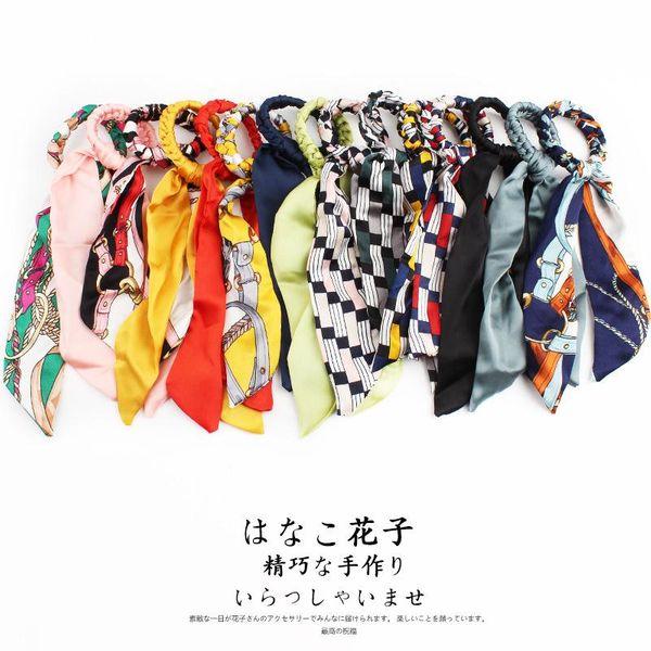 Fashion head rope multi-purpose wild hair accessories silk double-layer long ribbon big bow hair ring NHOF197036