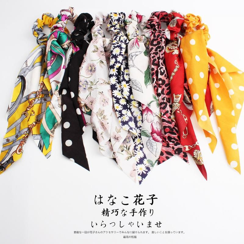 Streamer headband long square scarf cloth ring silk chain bowel headband horsetail hair jewelry NHOF197040