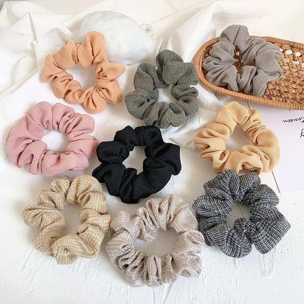 Anillo de pelo de intestino grueso de tela simple coreano cuerda de pelo de lino de algodón salvaje suave NHOF197042