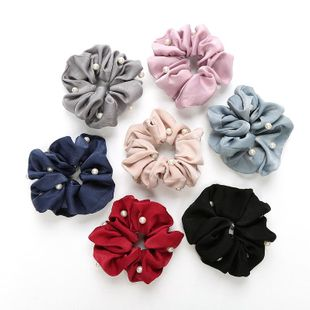 Korean cloth art headdress pearl hair band tying hair rubber band large intestine hair rope holster flower hair accessories wholesale NHOF197051's discount tags