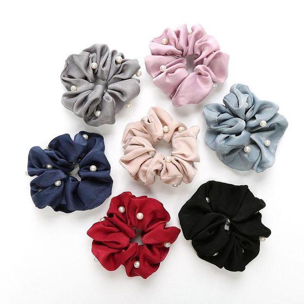 Tocado de arte coreano tocado banda de pelo de perlas que ata el pelo banda de goma intestino grueso cuerda de pelo funda flor adorno para el pelo NHOF197051