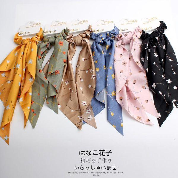 fashion bow ribbon chiffon long head rope floral large intestine headband knotted hair ornament fabric wholesale NHOF197052