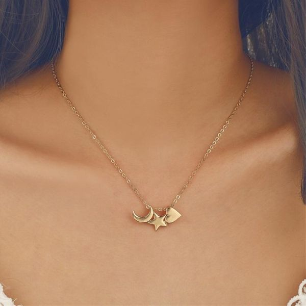 New style fashion simple simple love moon star pendant clavicle chain single layer alloy necklace NHPF197062