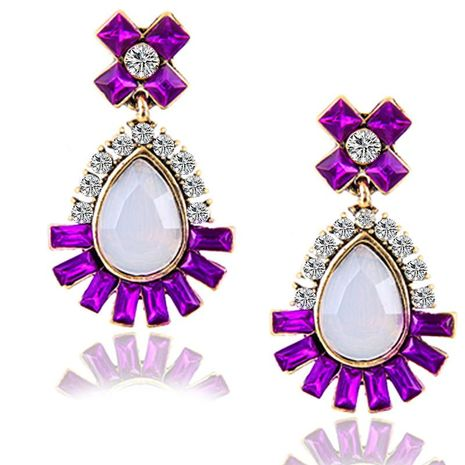 Wholesale retro gemstone full diamond alloy earrings female fashion exaggerated crystal earrings NHPF197063's discount tags