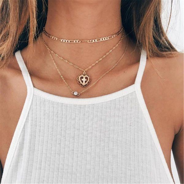 Fashion New Simple Multi-layer Cross Peach Heart Diamond Pendant Necklace Set NHPF197064