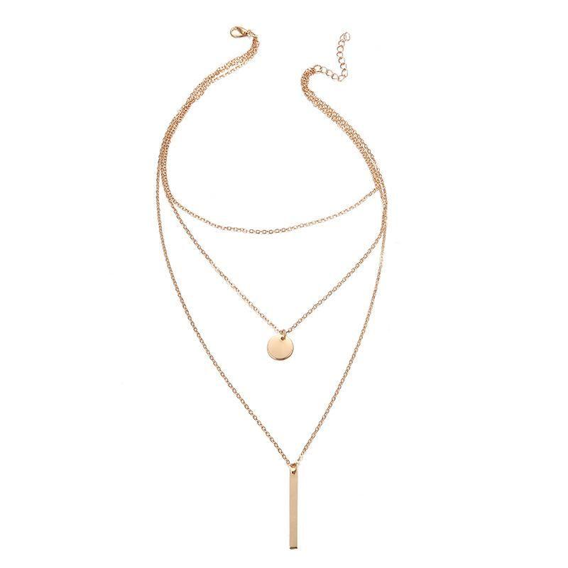 Wholesale jewelry simple metal multilayer geometric disc vertical pendant necklace short necklace NHPF197067