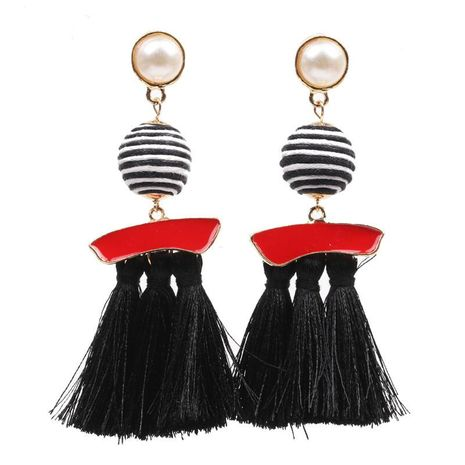 Fashion Earrings Long Retro Stripe Ball Boho Tassel Earrings Wholesale NHYL197083's discount tags