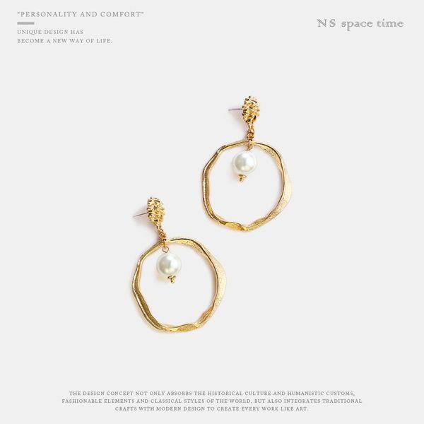 Pendientes coreanos elegantes pendientes de perlas pendientes geométricos irregulares círculo mujeres NHQS197106