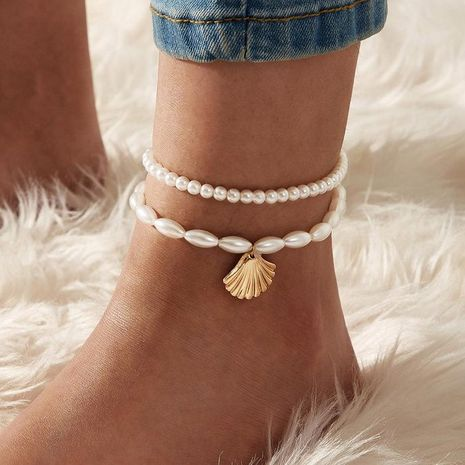 New Simple Pearl Fan Shell Pendant Anklet Creative Retro Footwear NHPJ197110's discount tags