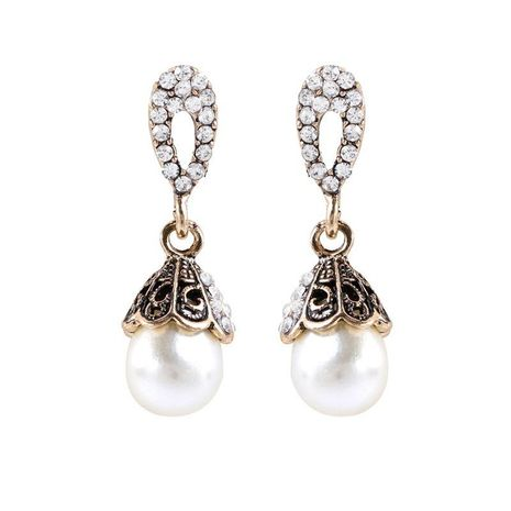 Vintage ancient silver pearl earrings Korean fashion diamond earrings jewelry wholesale NHKQ197112's discount tags
