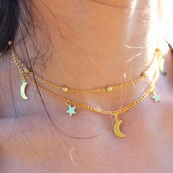 Wholesale fashion choker multilayer simple and delicate moon star necklace chain wholesale NHKS197123