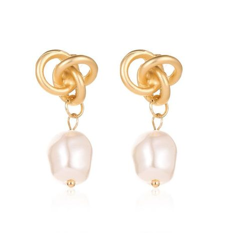 Wholesale fashion earrings knotted drop pearl stud earrings NHCU197138's discount tags