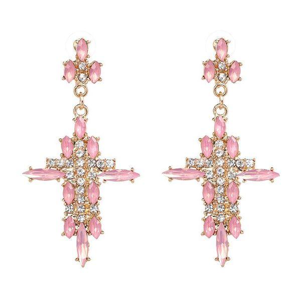 Wholesale jewelry trend cross alloy diamond earrings women fashion accessories jewelry NHJJ197153