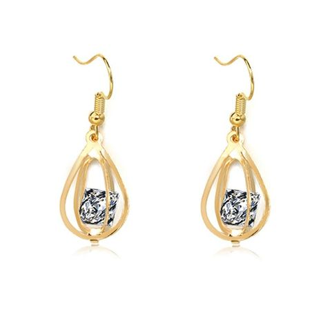 Fashion Korean Quality Earrings Hollow Lantern Zircon Metal Geometric Earrings Jewelry Wholesale NHDP197166's discount tags