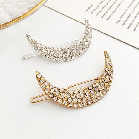 Korean popular rhinestone moon hairpin explosion model full rhinestone hair clip side clip NHDP197175's discount tags
