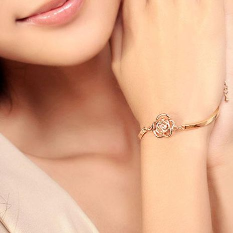 Korean Jewelry Wholesale Fashion Rose Bracelet Exquisite Camellia Zircon Bangle NHDP197184's discount tags