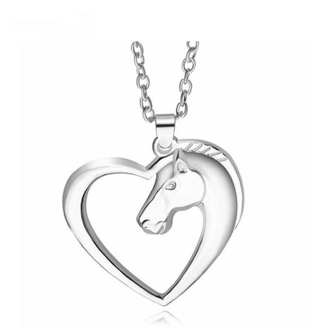 Sweet Heart Pony Necklace Alloy Pendant Copper Chain Cute Animal Horse Head Necklace Wholesale NHCU197190's discount tags