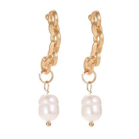 Fashion earrings creative chain twist earrings Asian gold imitation pearl earrings drop earrings women NHCU197197's discount tags