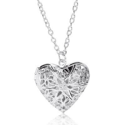 Hot Sale Sweet Peach Heart Love Necklace Hollow Engraved Opening Heart Shaped Photo Box Necklace Wholesale NHCU197205's discount tags
