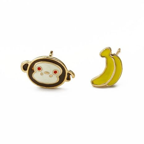 New cartoon monkey banana earrings rabbit carrot earrings paint asymmetric earrings wholesale NHCU197216's discount tags
