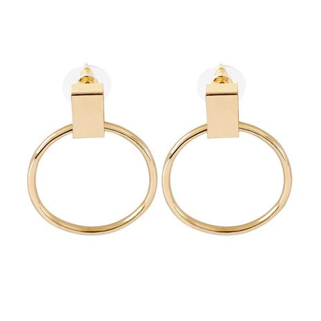 New Large Circle Stud Earrings Plating Gold Silver Geometric Round Ear Studs Wholesale NHCU197218's discount tags