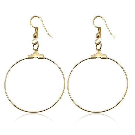 New Simple Golden Large Circle Earrings Handmade Round Ear Studs Wholesale NHCU197219's discount tags