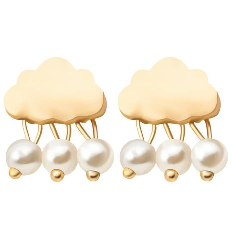 Sweet Pearl Cloud Black Cloud Stud Earrings Gold Plated Silver Glossy Water Drop Rain Drop Ear Studs Wholesale NHCU197223's discount tags