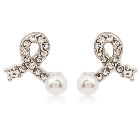 Fashion bow earrings silver plated inlaid pearl crystal earrings simple love earrings wholesale NHCU197225's discount tags