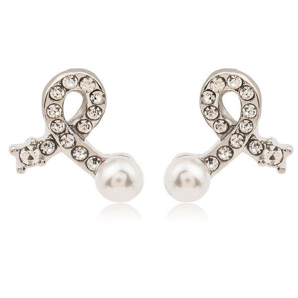 Fashion bow earrings silver plated inlaid pearl crystal earrings simple love earrings wholesale NHCU197225