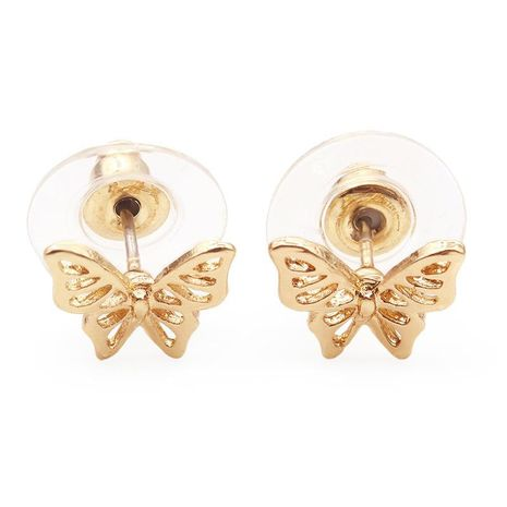 New Glossy Hollow Butterfly Ear Studs Gold Plated Silver Rose Cute Insect Ear Studs Wholesale NHCU197232's discount tags