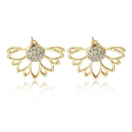 New Hollow Lotus Ear Studs Gold Plated Silver Inlaid Rhinestone Pearl Ear Studs Wholesale NHCU197233's discount tags