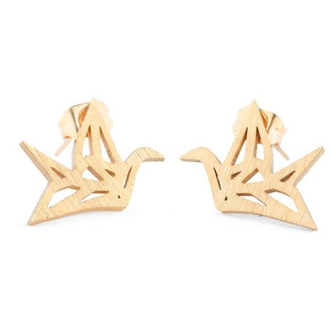 Best selling hollow paper crane earrings alloy plating origami pigeon earrings animal bird earrings wholesale NHCU197234's discount tags