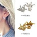 Best selling hollow paper crane earrings alloy plating origami pigeon earrings animal bird earrings wholesale NHCU197234