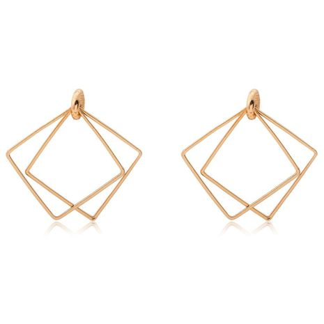 Simple Geometric Hollow Double Square Earrings Gold Plated Silver Diamond Square Earrings Wholesale NHCU197241's discount tags