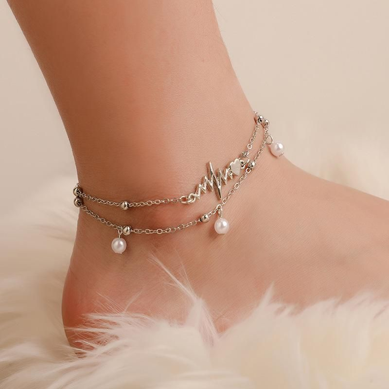 Best selling pearl small bell pendant double anklet ECG current pendant anklet wholesale NHCU197248