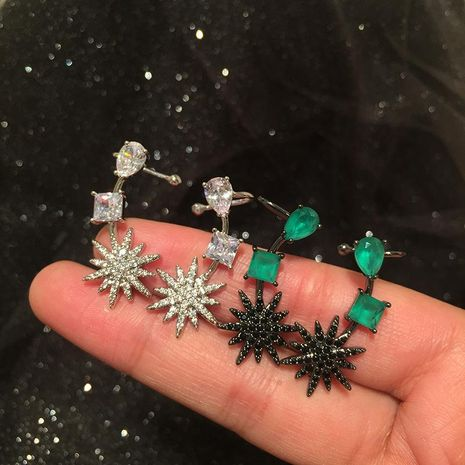 fashion Eight Mount Star Ear Bone Earrings S925 Silver Drop Emerald Ear Clip NHWK197258's discount tags