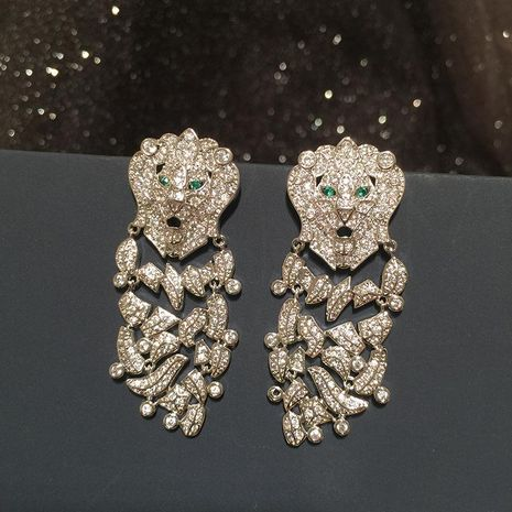 fashion lion earrings female long Ss925 silver pin luxury large earrings NHWK197262's discount tags