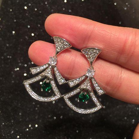 Fashion fan earrings female sweet S925 silver needle emerald champagne luxury skirt earrings NHWK197265's discount tags