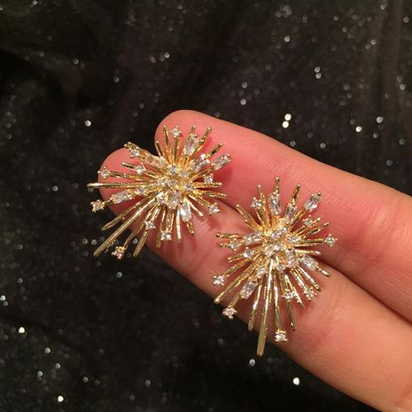 Fashion Firework Earrings Vintage S925 Silver Simple Golden Earrings NHWK197267's discount tags