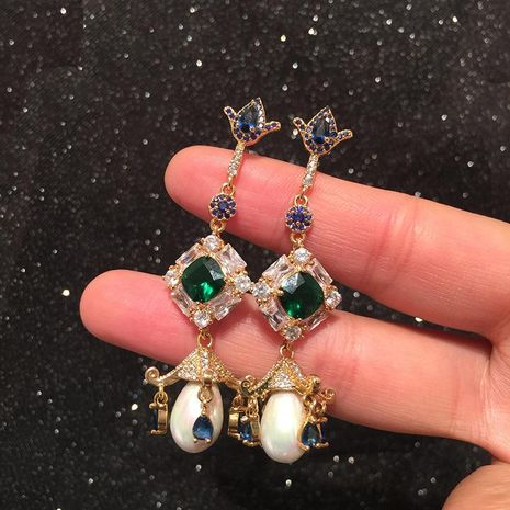 Fashion Flower Earrings Long Emerald Micro Set Zircon S925 Silver Pearl Tassel Earrings NHWK197268's discount tags