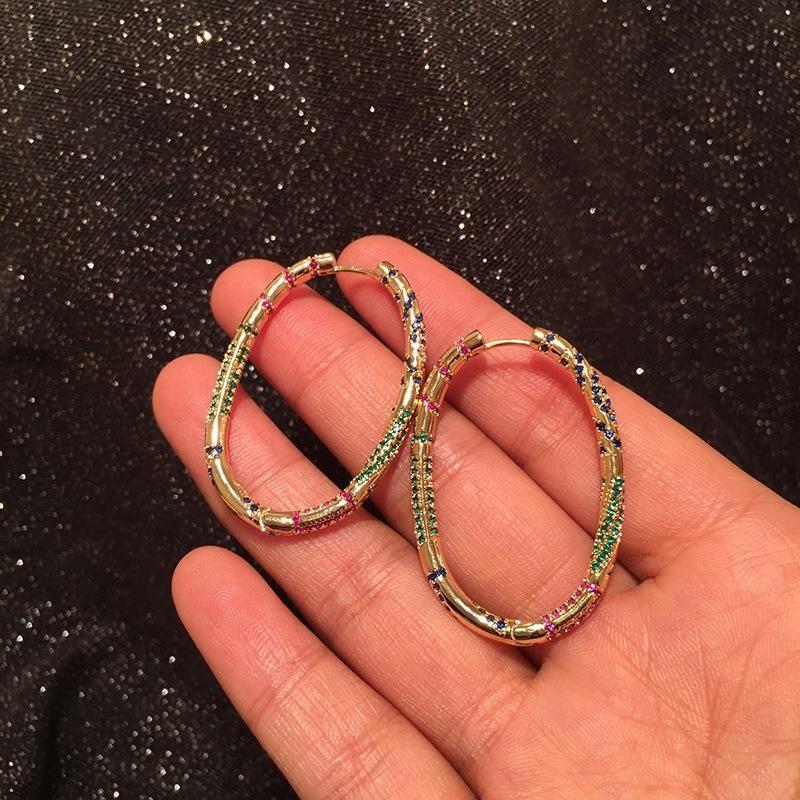 Korean Metal Geometric Hoop Earrings Oval Creative Gradient Colored Micro Inlaid Zircon Earrings NHWK197272