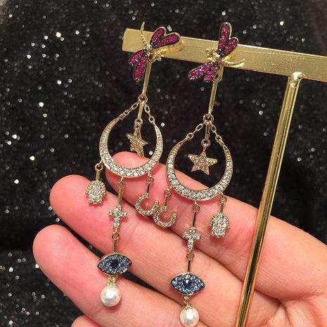 Fashion star moon earrings female dragonfly palm eyes long tassel earrings NHWK197276's discount tags
